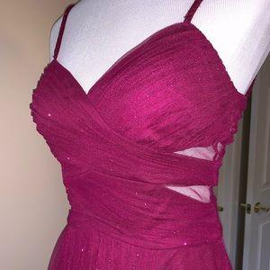 High-Low Deep Pink Formal Dress